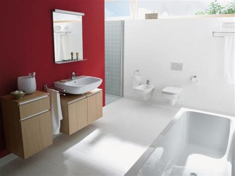 red accent bathroom modern white bathroom with red accent wall hgtv