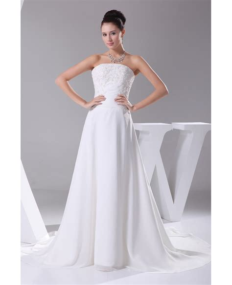 Chiffon Lace Dress a line chiffon beaded lace wedding dress with