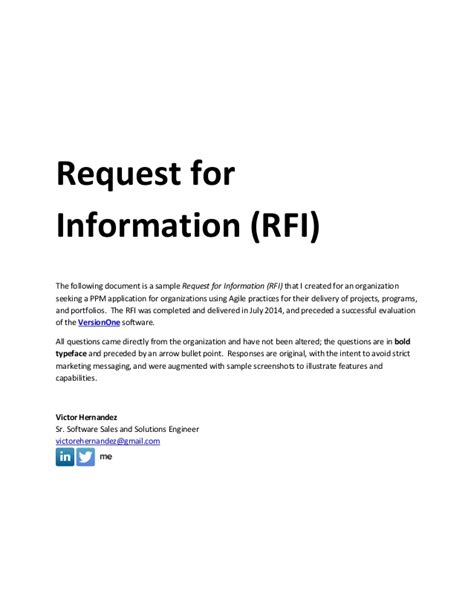 request for information rfi template sle request for information rfi document