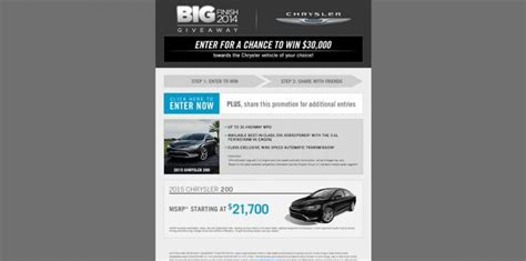 Chrysler Sweepstakes by Chrysler Big Finish Giveaway Win The Chrysler Vehicle Of