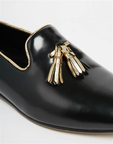 gold tassel loafers asos tassel loafers in black leather with gold trims in