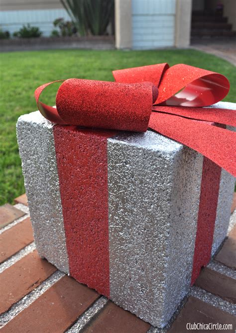 present decoration ideas gift box concrete block craft with frogtape