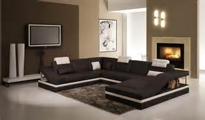 Contemporary Sectional Sofas 5039 Contemporary Black And White Leather Sectional Sofa W