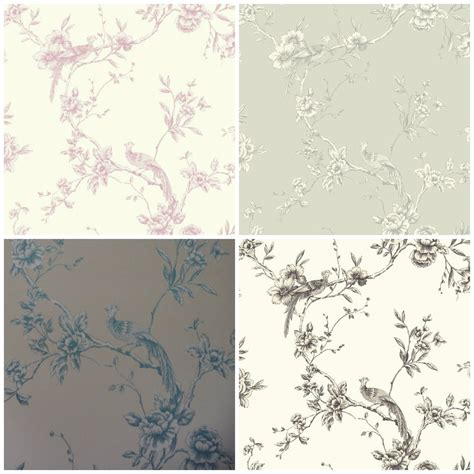 arthouse chinoise toile de jouy shabby chic bird wallpaper 4 colours ebay