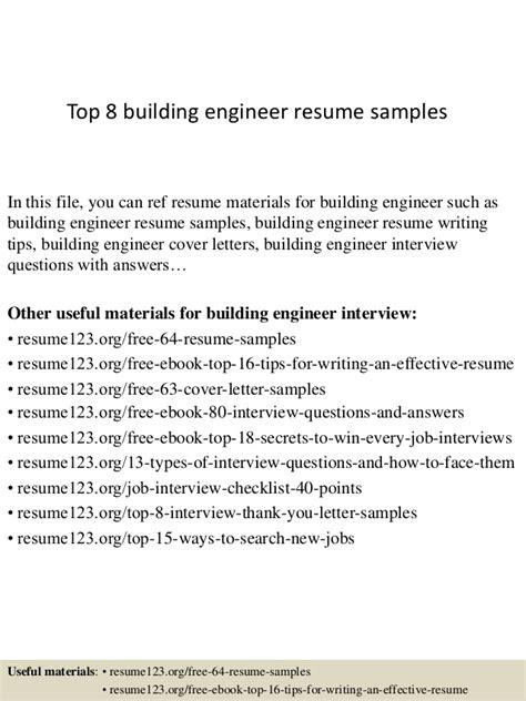 building engineer resume sle top 8 building engineer resume sles