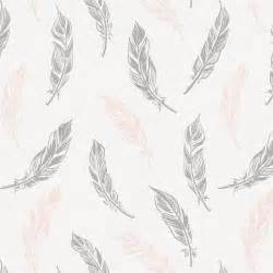 White Cotton Upholstery Fabric Blush Pink And Silver Gray Hand Drawn Feathers Fabric By