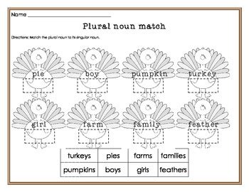english themed worksheets plural nouns worksheet thanksgiving themed by turtle