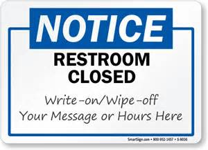 Bathroom Temporarily Out Of Service Restroom Closed Write On Wipe Notice Sign Sku S 8036