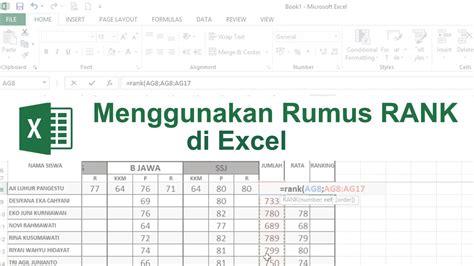 rumus membuat ranking di ms excel tutorial microsoft excel rumus if tutorial