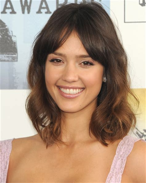 hair styles with bangs parted in the middle haircuts with bangs parted in middle jessica alba long bob