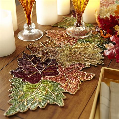 beaded table runners beaded leaves table runner pier 1 imports crafts