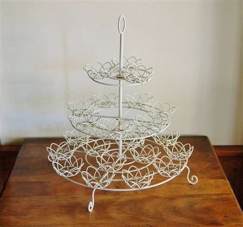 Curly Cake Stand white wire cupcake stand shabby cottage chic 3 tier wedding