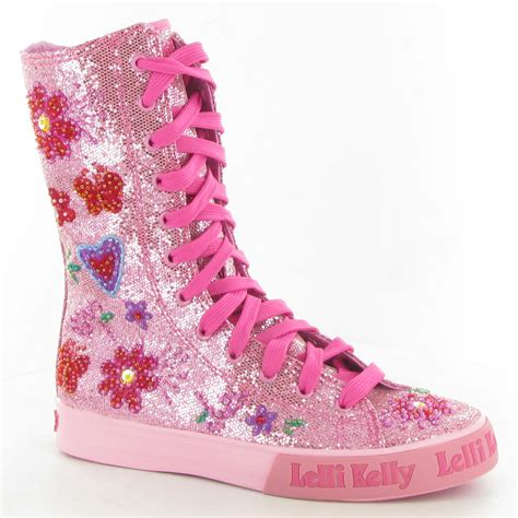 lelli canvas lk6566 glitter calf boots in pink glitter