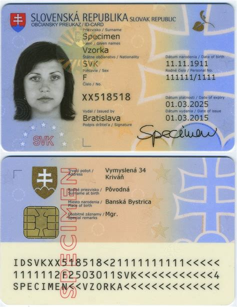 russian id card template slovak identity card