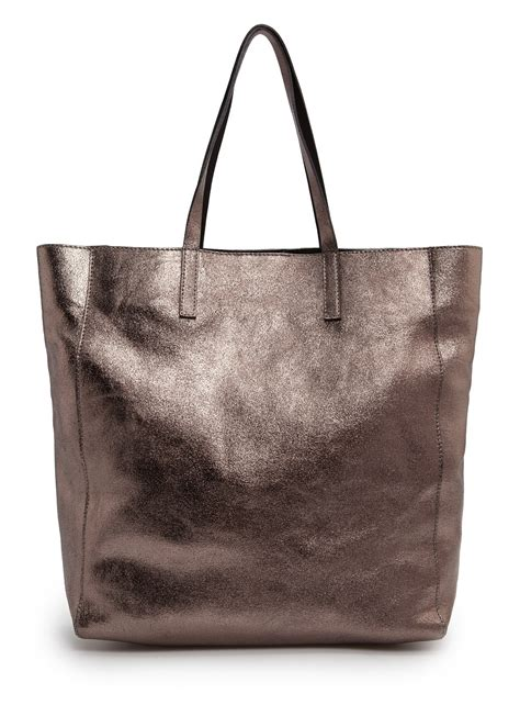 Ficcare Metallic Leather Bags by Lyst Mango Touch Metallic Leather Tote In Brown
