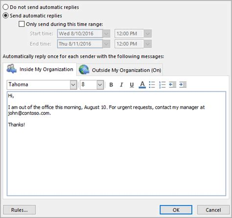 away message template send automatic out of office replies from outlook outlook