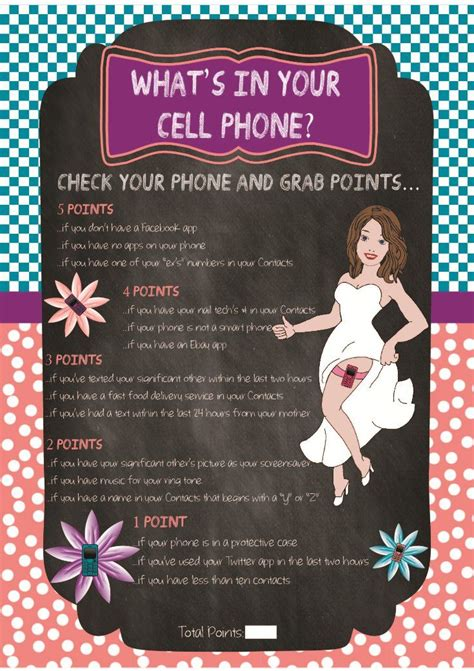 printable bridal shower cell phone game printable bridal shower game chalkboard quot what s in your