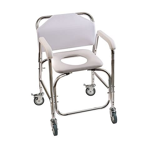 shower chair bed bath and beyond dmi rolling shower transport chair in white bed bath