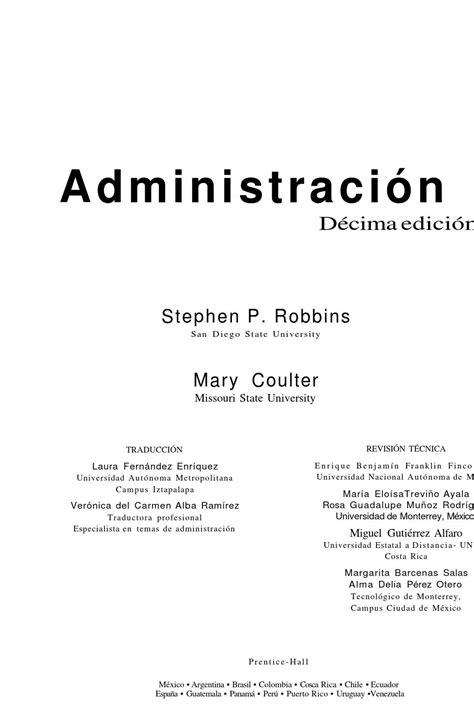 Administracion stephen robbins y mary 10 edicion by Andrea