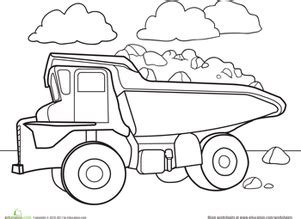 dump truck coloring page preschool color a car dump truck worksheet education com