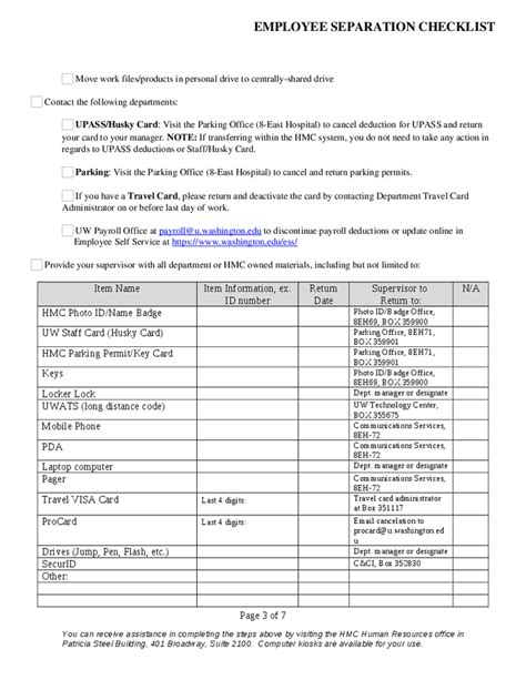 employee separation checklist separating employee harborview employees only checklist