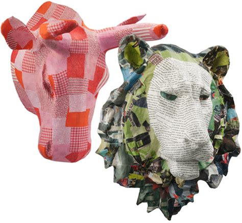 How To Make Paper Mache Animal Heads - more papier m 226 ch 233 animal heads for your decorating pleasure