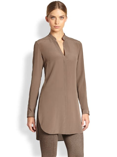Tunic By lyst akris punto silk mandarin collar tunic in brown