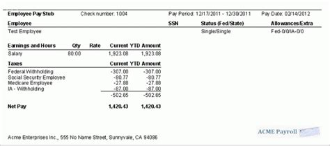 Quickbooks Paycheck Stub Template 9 Printable Paycheck Stubs Sles Of Paystubs