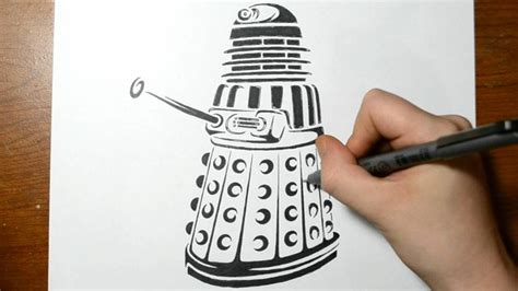 drawing a dalek from dr who tribal tattoo design style
