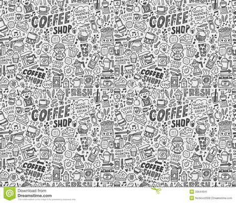 doodle pattern background seamless doodle coffee pattern background stock