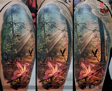 forest with sunbeams amp a pink lily best tattoo design ideas
