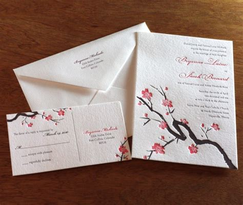 Wedding Invitation Japanese by Asian Wedding Invitations Cherry Blossoms Letterpress