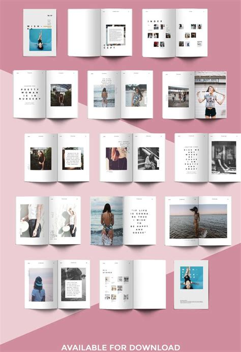 Fashion Lookbook Template Minimal Style Portfolio Pinterest 레이아웃 편집 디자인 및 포스터 Fashion Portfolio Template
