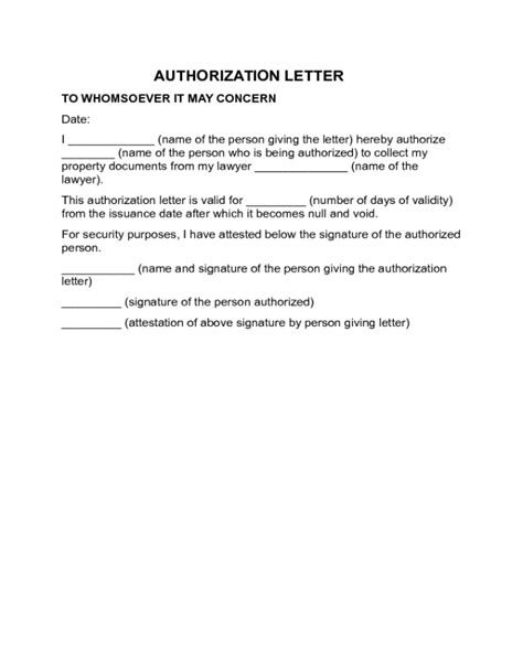 authorization letter with validity 2018 authorization letter templates fillable printable