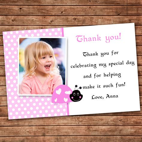 Thank You Card Wording Birthday Gift Personalized Any Wording Pink Thank You Card Little Ladybug