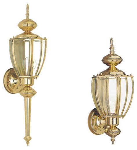 Brass Landscape Lighting Sea Gull Lighting 8578 02 Polished Brass Curved Classic Coach Lanterns Contemporary Outdoor