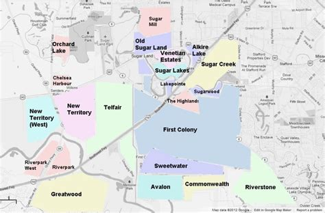 sugar land texas map sugar land neighborhoods