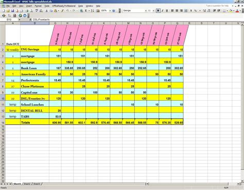 Bills Spreadsheet by Excel Bill Spreadsheet Template