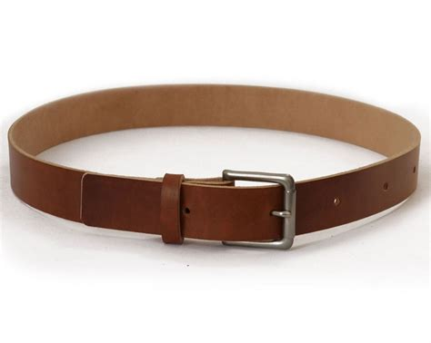 Handmade Belt - mens handmade medium brown veg leather belt basader