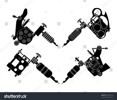 set 4 different style realistic tattoo stock vector