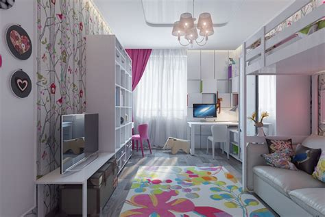 pretty girls room bright and colorful kids room designs with whimsical artistic features