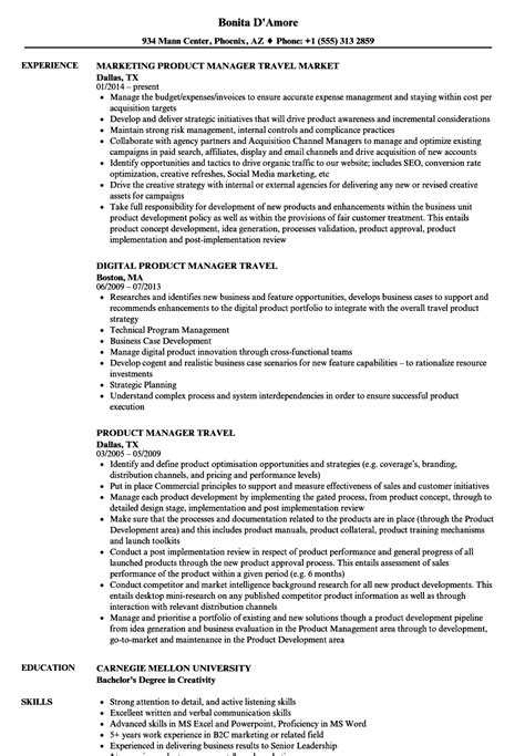 Travel Product Manager Sle Resume by Product Manager Travel Resume Sles Velvet