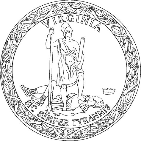 virginia state outline sketch coloring page