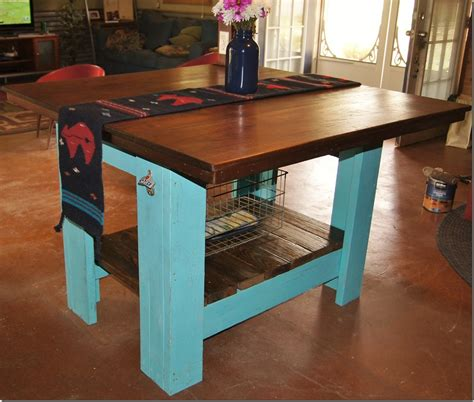 pallet kitchen island tutorial exceptional pallet kitchen island tutorial with turquoise blue paint colors also wire metal