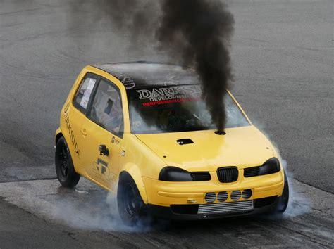 volkswagen diesel rolling coal vw hatchback rolling coal drag racing run is unbelievable