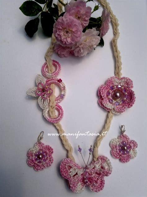 collana fiori uncinetto collana e orecchini uncinetto farfalle e fiori manifantasia