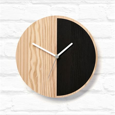 wooden clocks half wooden wall clock by byshop notonthehighstreet com