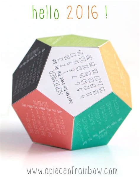 Dodecahedron Calendar 2016 Calendar Template 2016 - make a 3d 2016 printable calendar a of rainbow