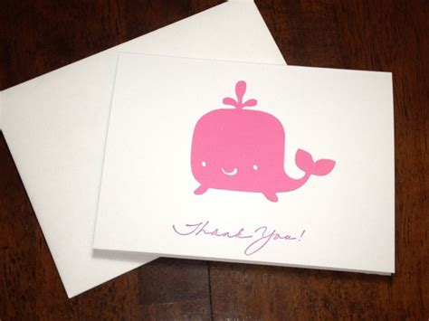 Handmade Baby Thank You Cards - whale baby shower thank you note card set handmade in