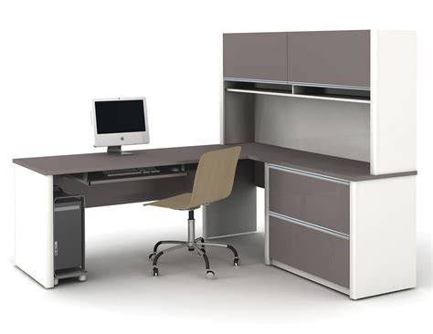 L Desk Office Modern L Shaped White Gray Solid Wood Desk With Shelf And Cabinet Storage Combination With Brown
